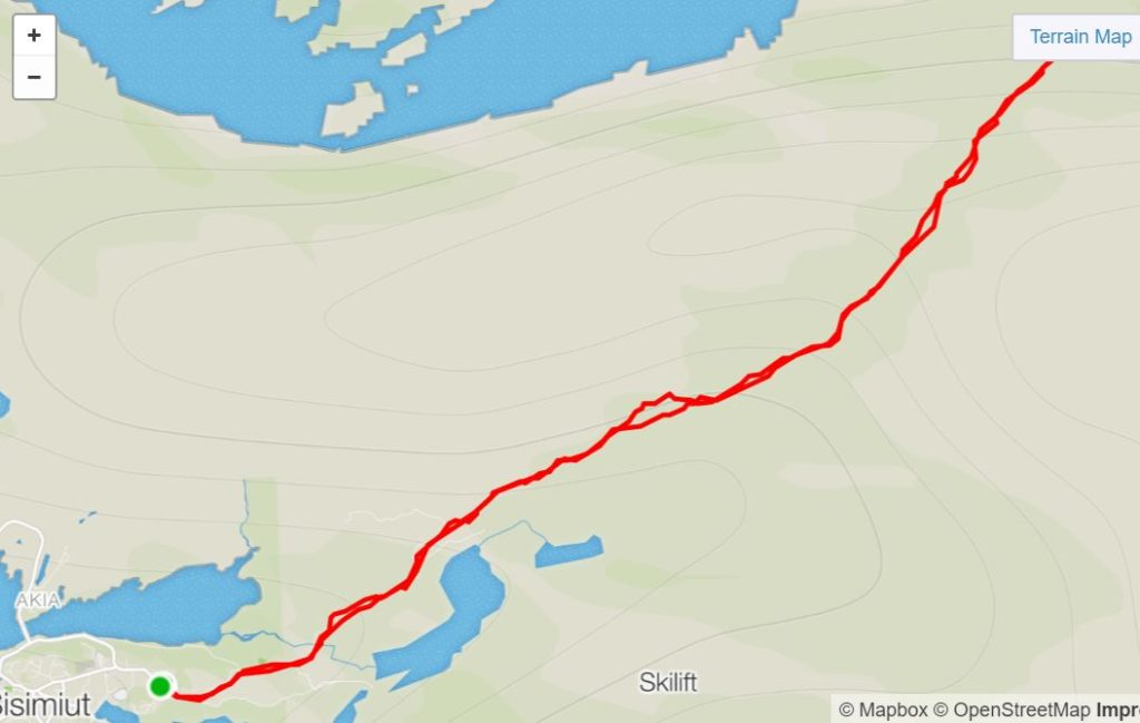 Basic Map of Sisimiut UFO Hike- from Strava