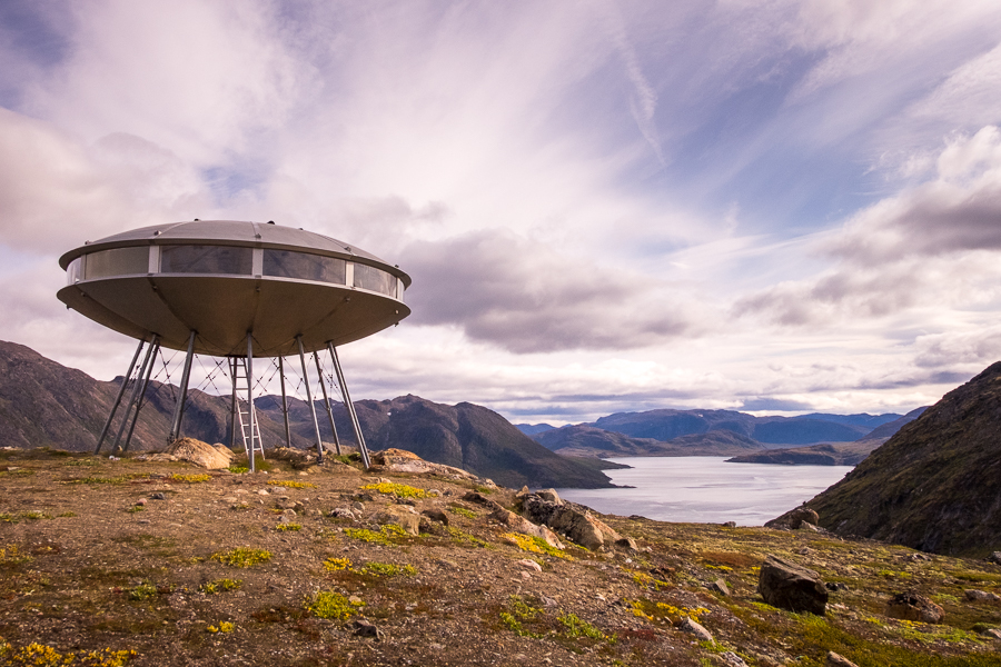 View of the UFO Hut overlooking the Kangerlusarsuk Fjord -  Sisimiut UFO hike - West Greenland