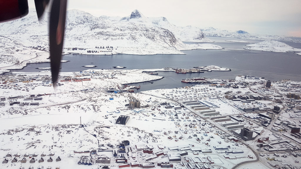 View of Nuuk as the plane flys over ready to circle back and land - Greenland