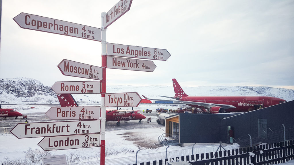 Kangerlussuaq Airports famous sign with distances to destinations - West Greenland