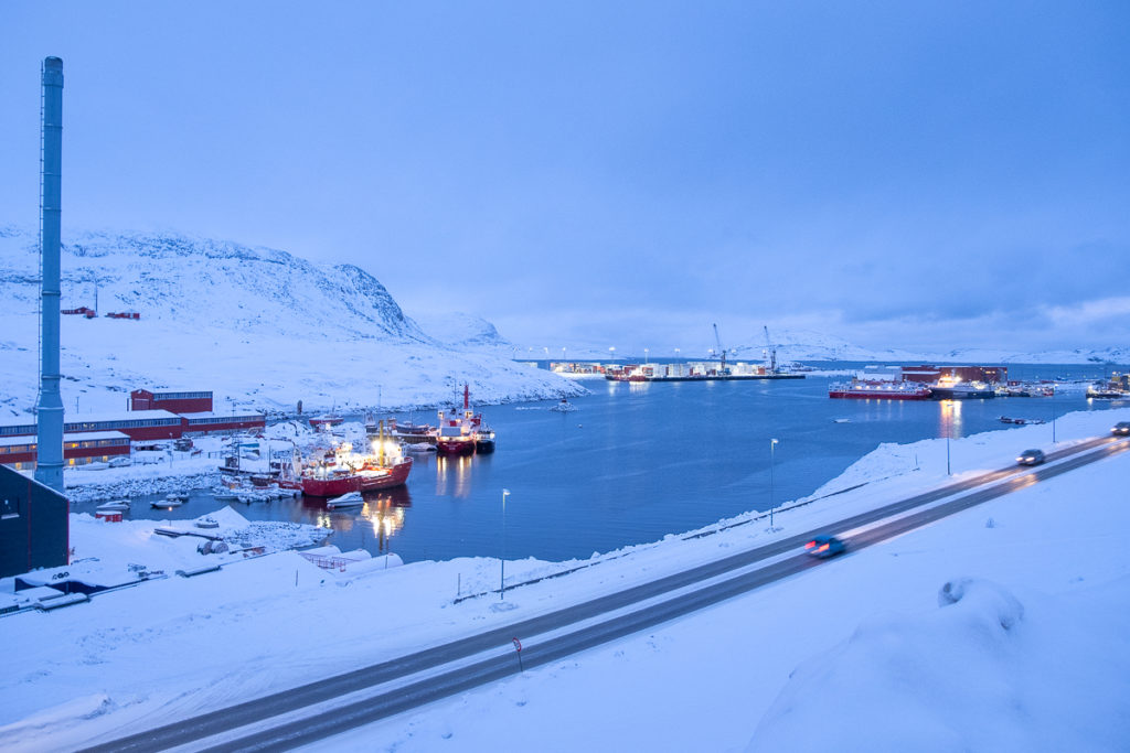 View of ships in Nuuk harbour