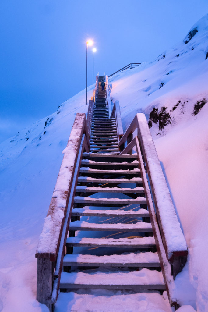 Looking up at the 240 stairs on the way home - Nuuk - Greenland