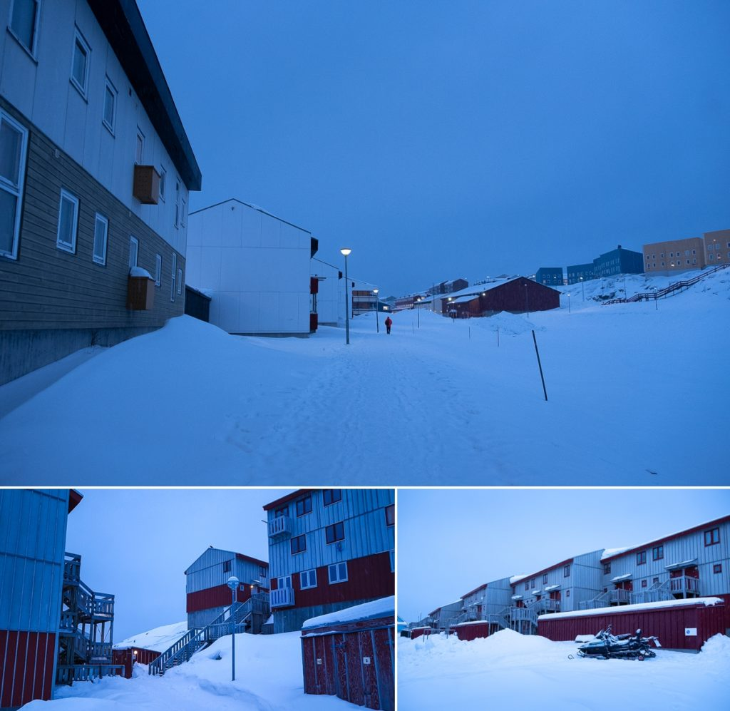 Dark images of walking between apartment buildings on my way to work in Nuuk - Greenland