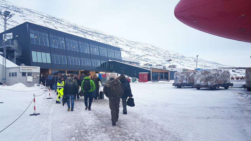 Passengers from Norsaq heading into the Kangerlussaq airport terminal - west Greenland