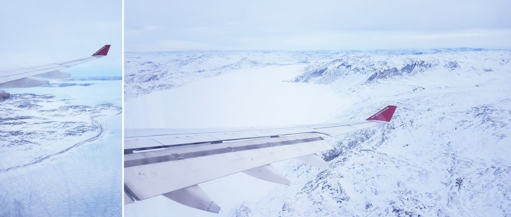 Images of approaching Kangerlussuaq out of the window of the plane