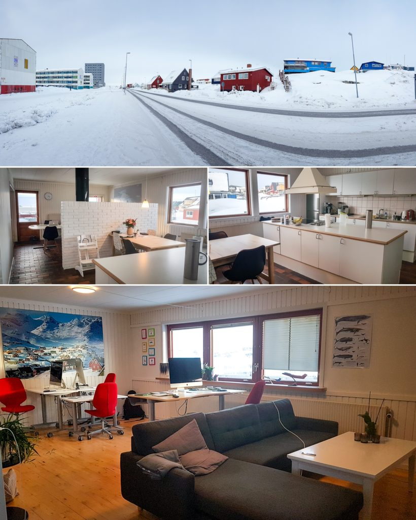 Exterior and interior of the offices at Guide to Greenland - Nuuk