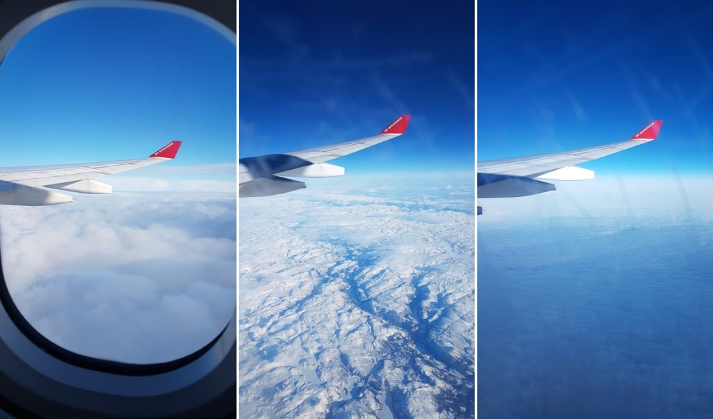Views out my window as I fly over Denmark, Norway and Iceland on the way to Greenland