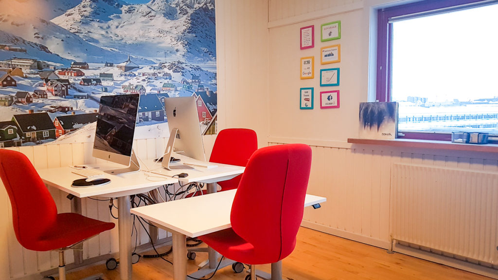Image of where I'm working from at the Guide to Greenland offices