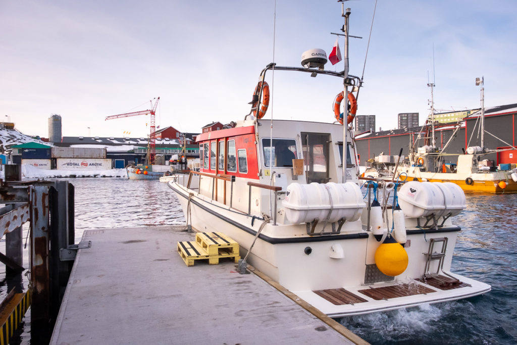 Our boat for this Nuuk Fjord Safari waiting at the Tidewater Stairs - Nuuk, West Greenland