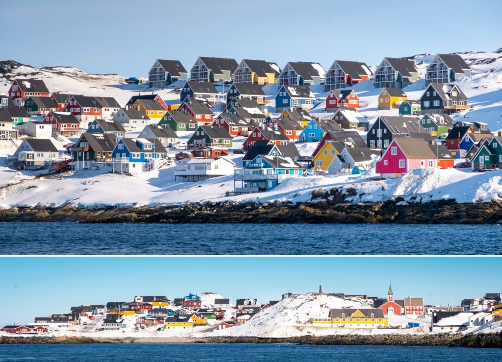 Views of the colourful houses of Nuuk and the Colonial Harbour, Nuuk Fjord Safari -  West Greenland