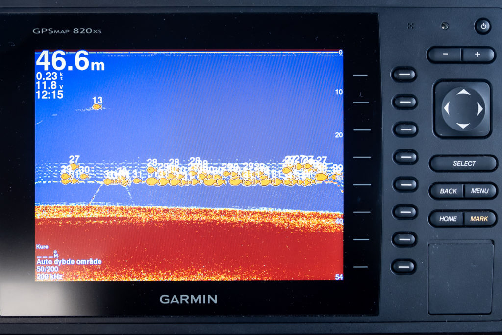 Fish finder showing lots of fish, on the Nuuk Fjord Safari, West Greenland
