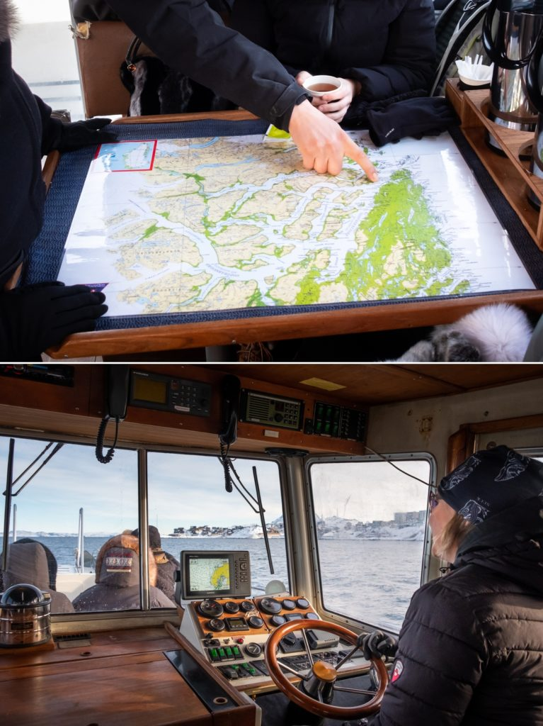 Preparing for the journey with a run through the map and heading out past Nuuk, West Greenland