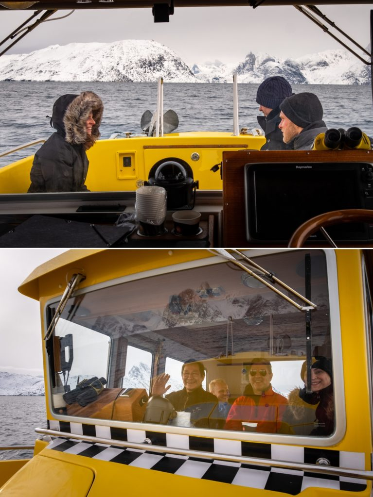 Passengers sitting outside the warm cabin (top) and inside with the captain (bottom) - Nuuk Fjord - West Greenland