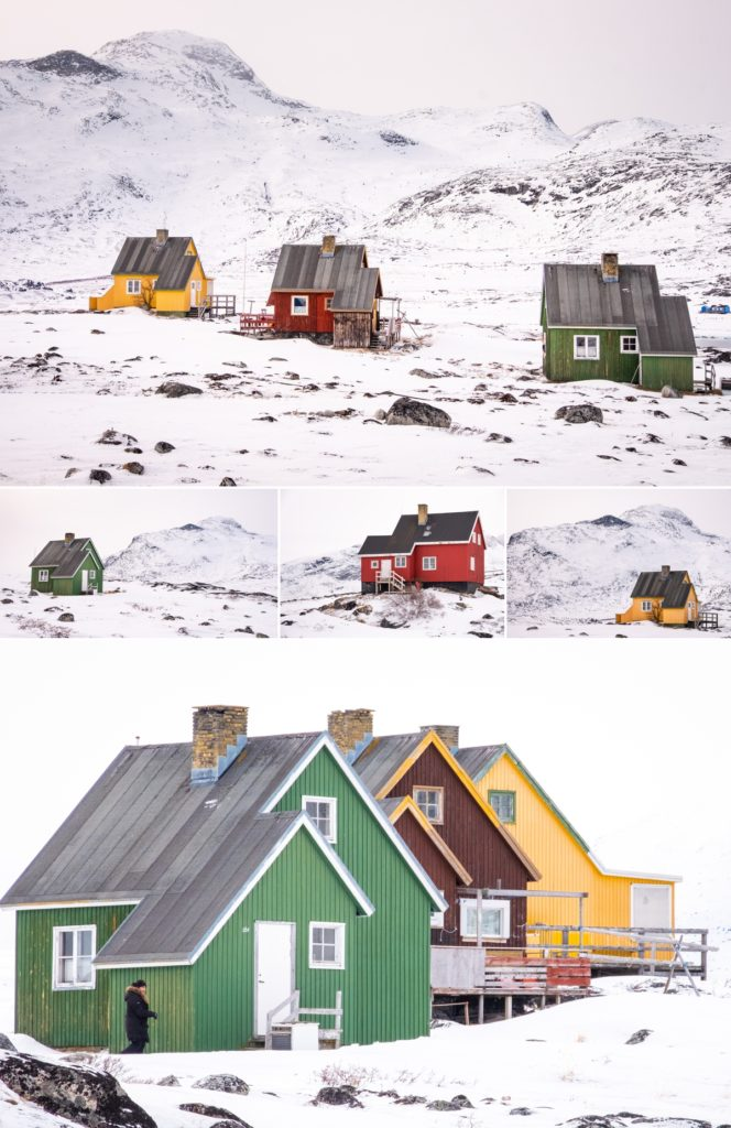 Some of the bright, colourful houses of Qoornoq - Nuuk Fjord - West Greenland