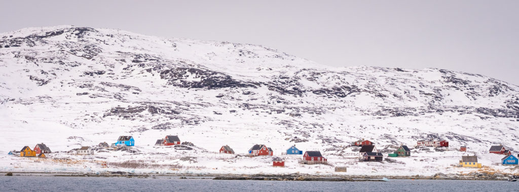 Colourful houses of Qoornoq line the fjord - Nuuk Fjord - West Greenland