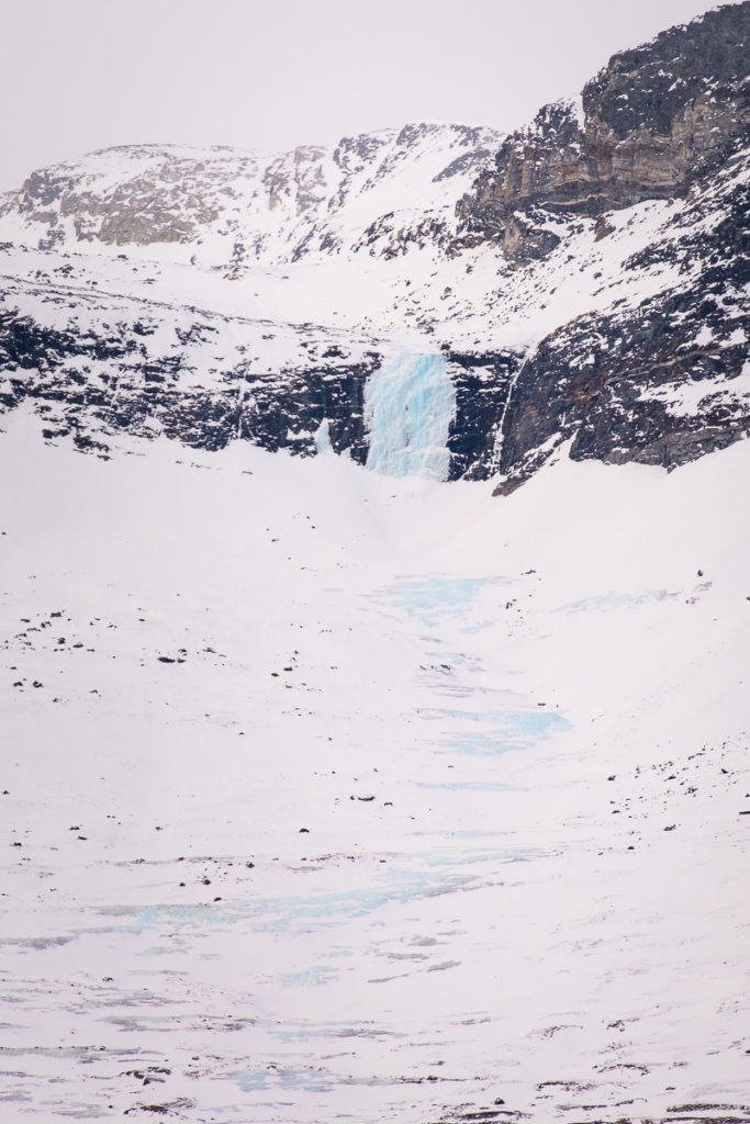 Frozen waterfall in the Nuuk Fjord - West Greenland