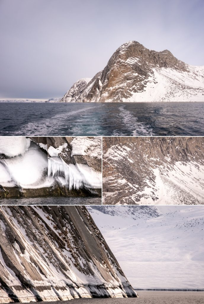 Detail in the mountains in Nuuk Fjord - West Greenland