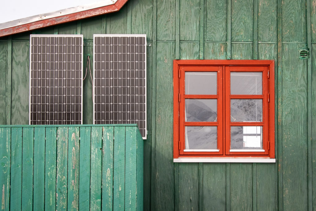 Solar panels on a green house in Qoornoq - Nuuk Fjord - West Greenland