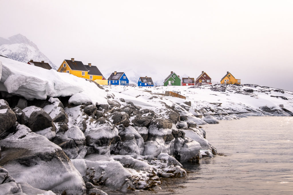 Temporary dock for Qoornoq with the colourful houses waiting above - Nuuk Fjord - West Greenland