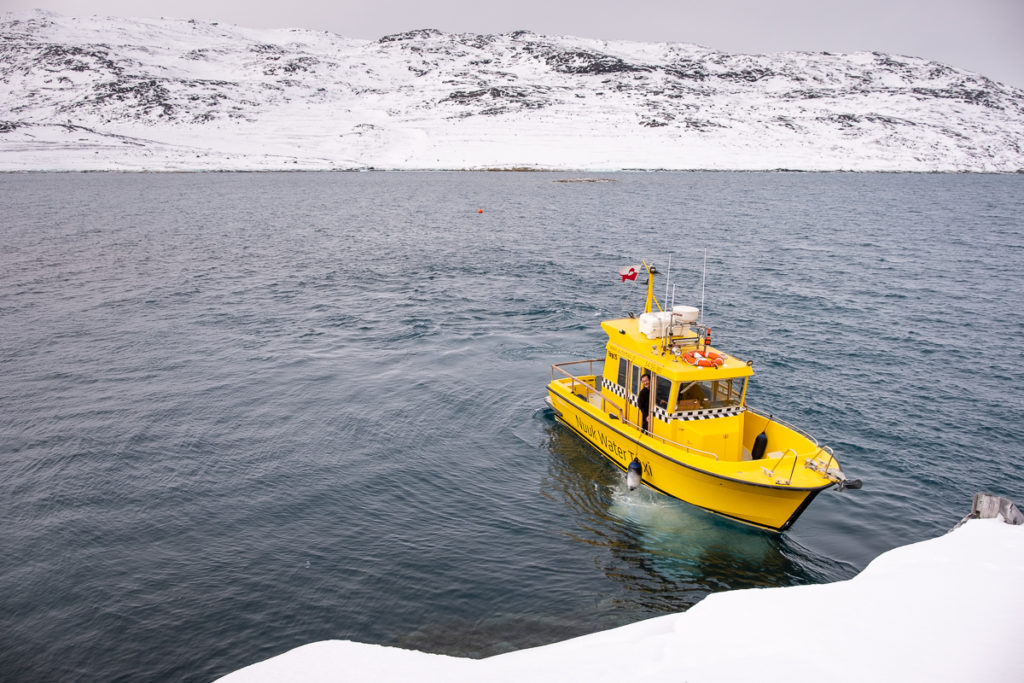Nuuk water taxi in Nuuk Fjord near Qoornoq - West Greenland
