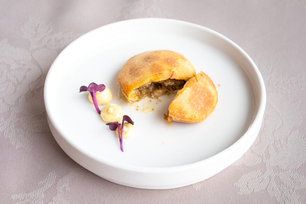 Musk-ox empanada as part of the Sarfalik Tasting Menu - Nuuk - West Greenland