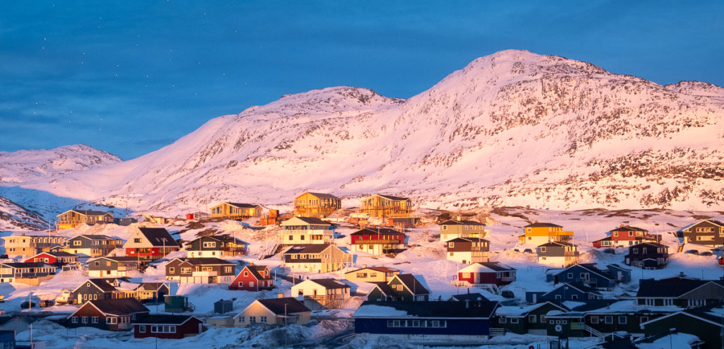 Sunset over Store Malene from Sarfalik Restaurant - Nuuk- West Greenland