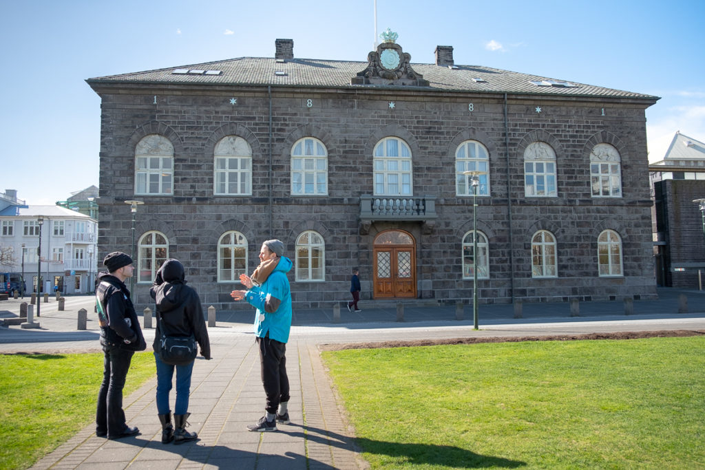 Outside the Alþingi - Icelandic Parliament - on the Walk with a Viking Tour with Your Friend in Reykjavik