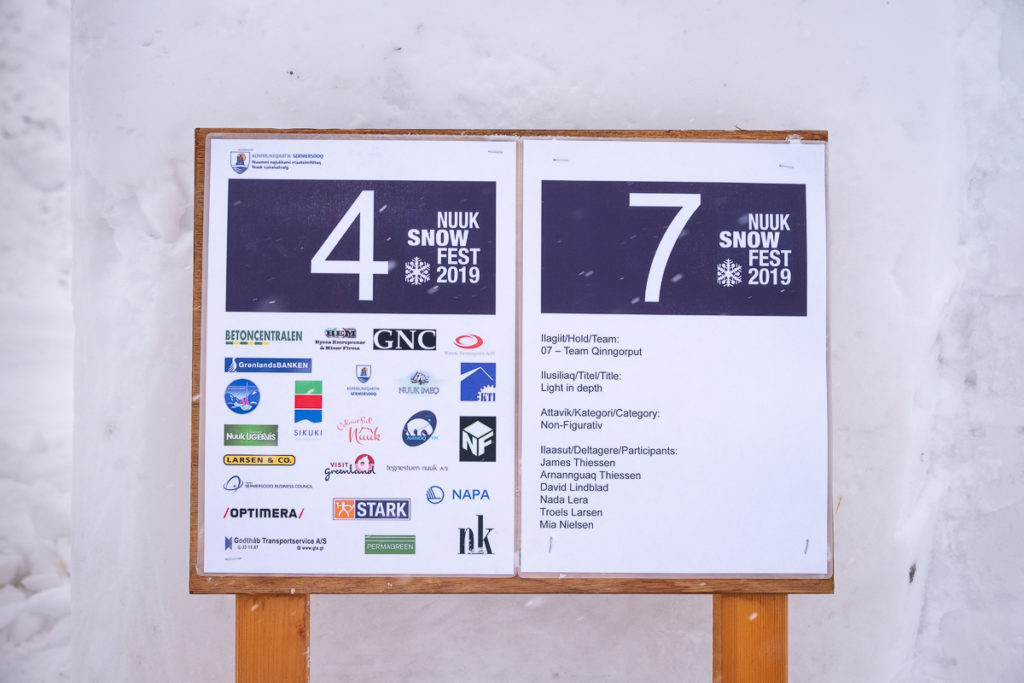 Sign for a competitor at the Nuuk Snow Festival - West Greenland