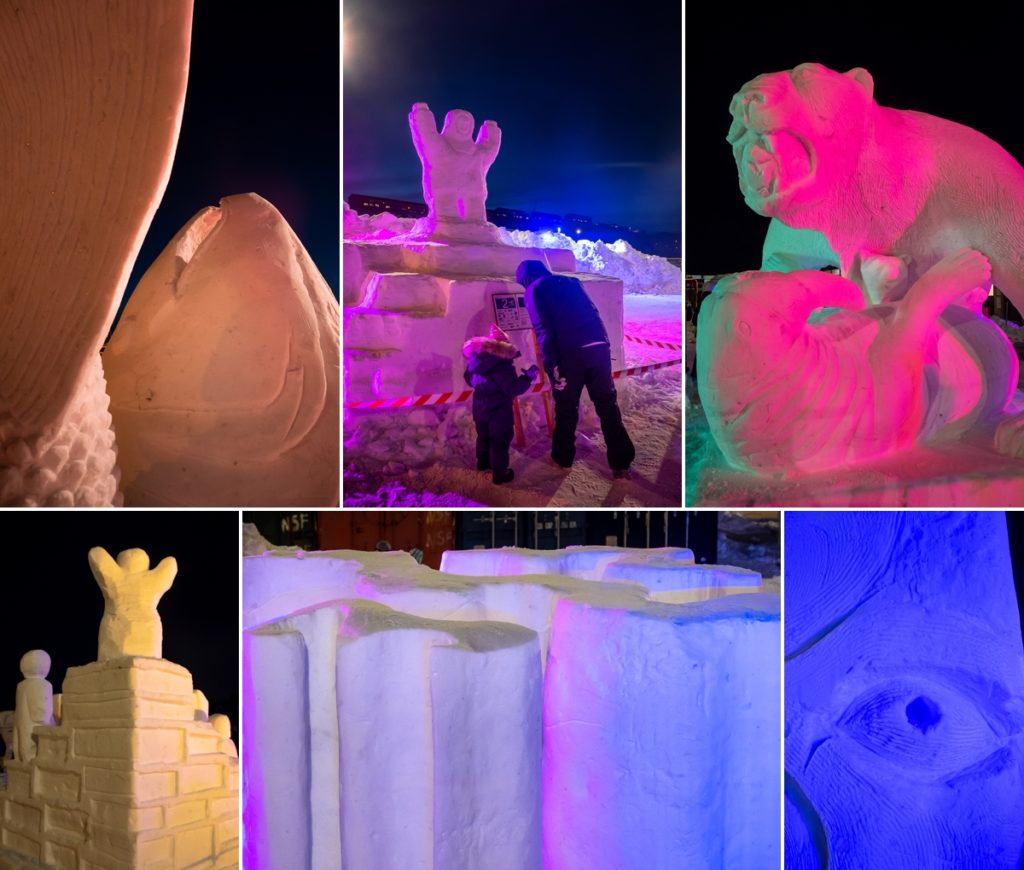 Montage of the different sculptures lit up at the Nuuk Snow Festival - West Greenland