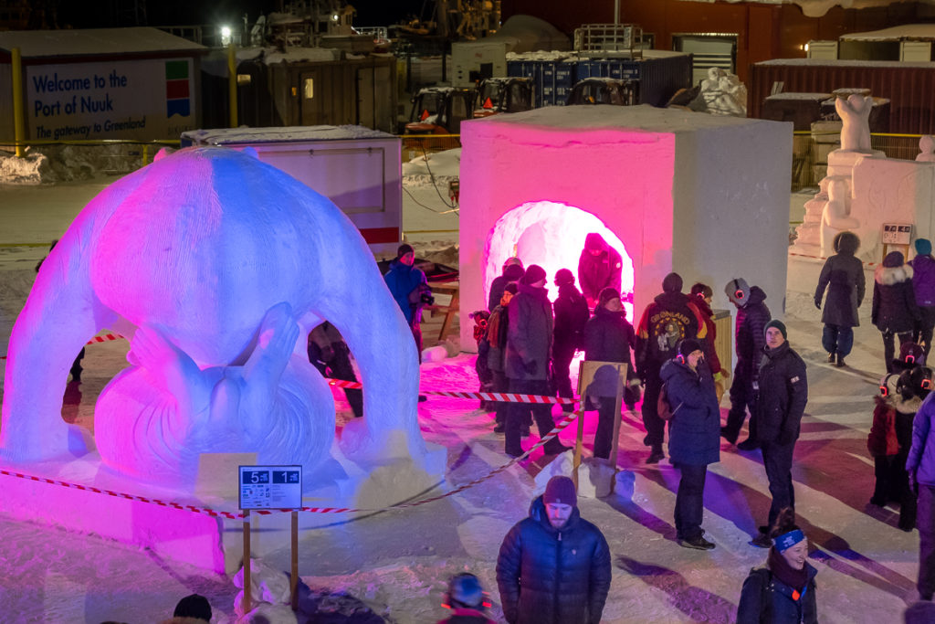 "The ""igloo"" where you picked up your headphones for the silent disco at the Nuuk Snow Festival - West Greenland"