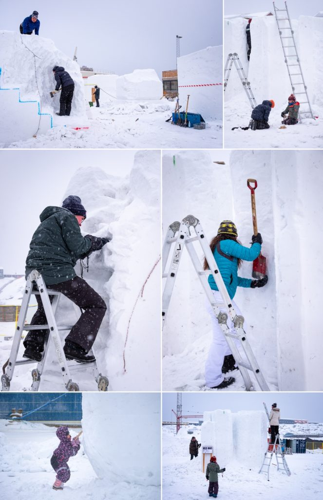 Montage of people working on their sculptures at the end of day 1 of the Nuuk Snow Festival - West Greenland