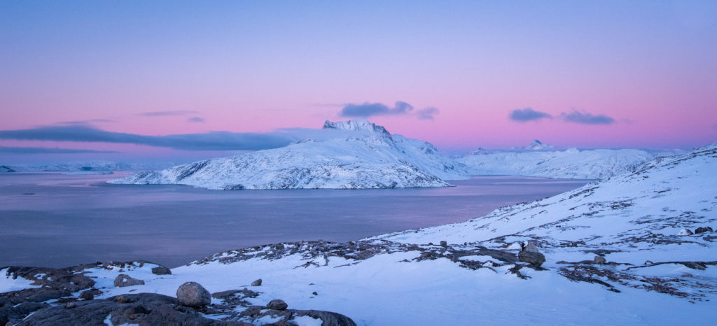 Blue hour on Sermitsiaq with pink sunset - Nuuk - West Greenland