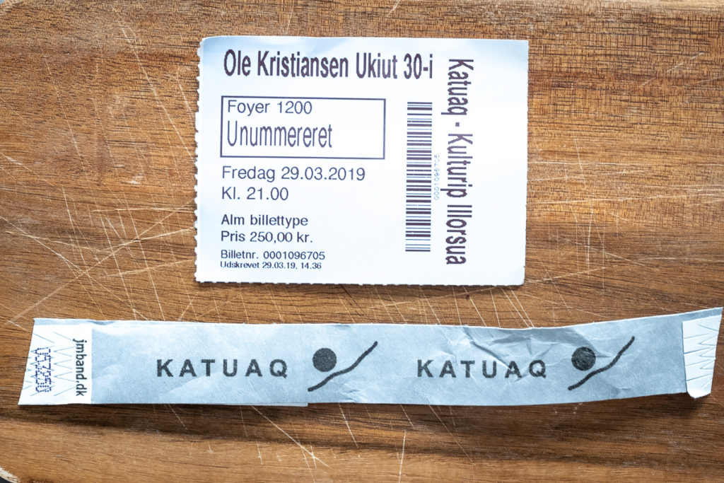 Ticket and wristband for Ole Kristiansen concert at Katuaq Cultural Center