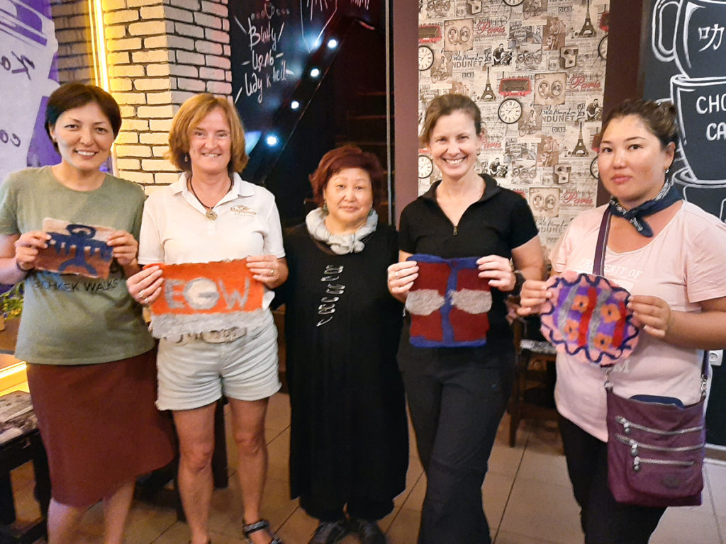 Felt workshop group with our finished felts - Bishkek