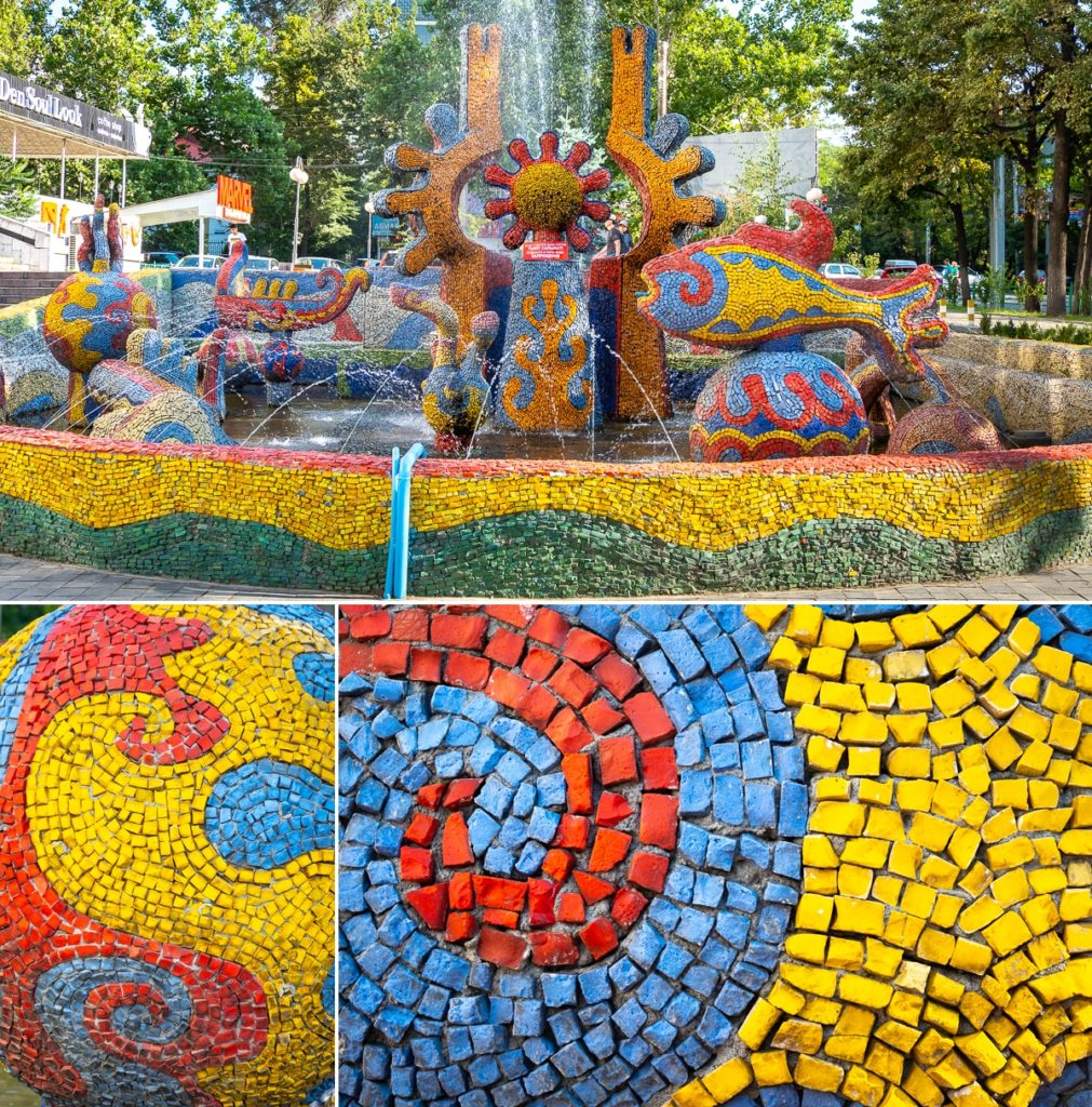 The whole and details of the Sunny Fish Fountain - Bishkek