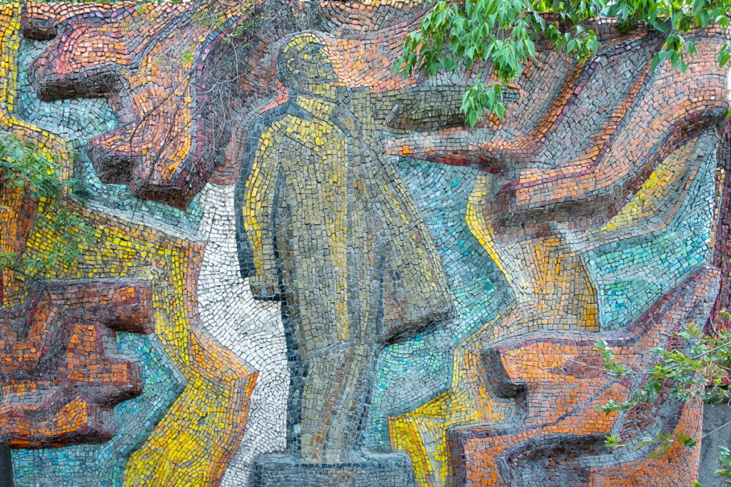 Lenin figure in the Lenin is with us mosaic - Bishkek
