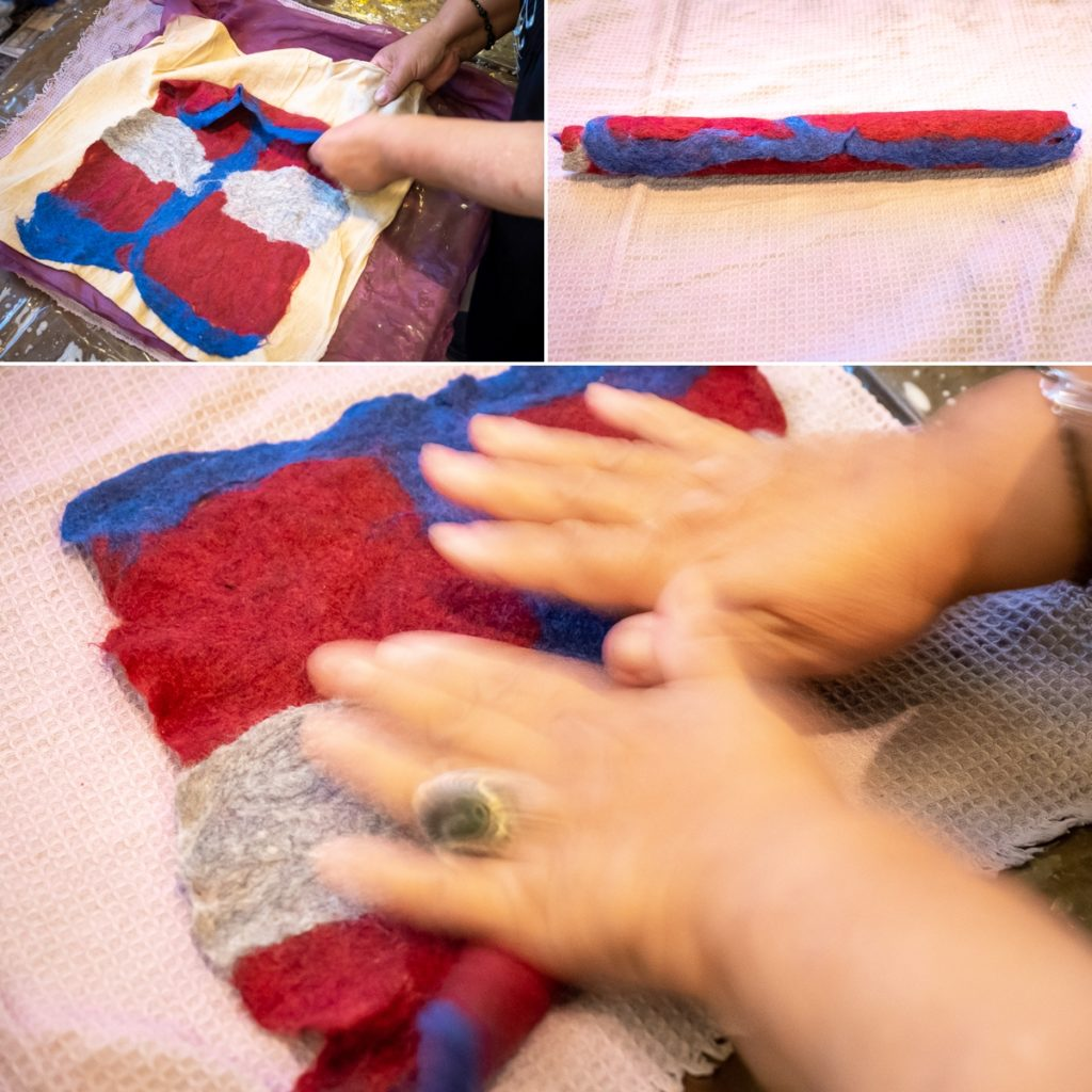 rolling the felt to make it shrink - felt workshop - Bishkek