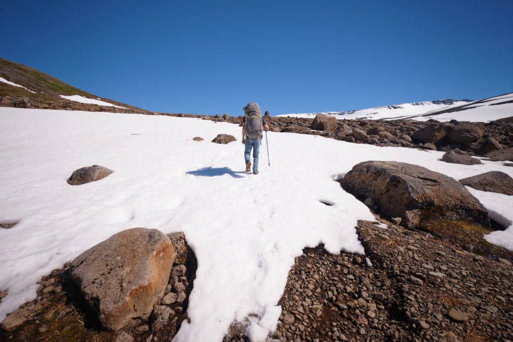 Following other people's bootprints in snow drifts - Hornstrandir - Iceland