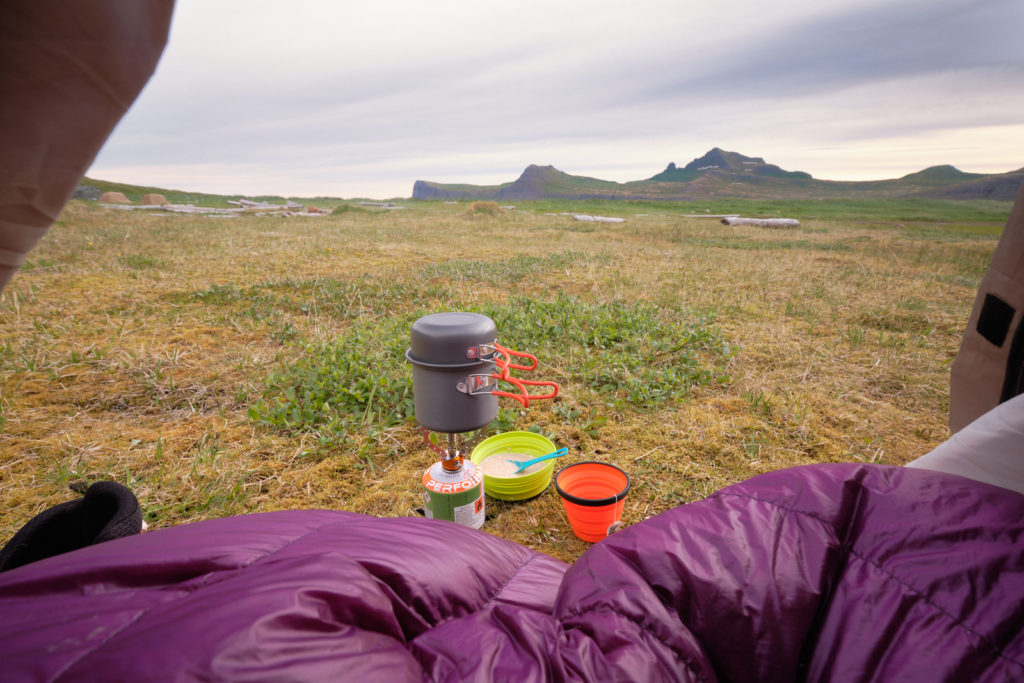 view of the horn from my tent - Hornvík campsite - Hornstrandir - Iceland