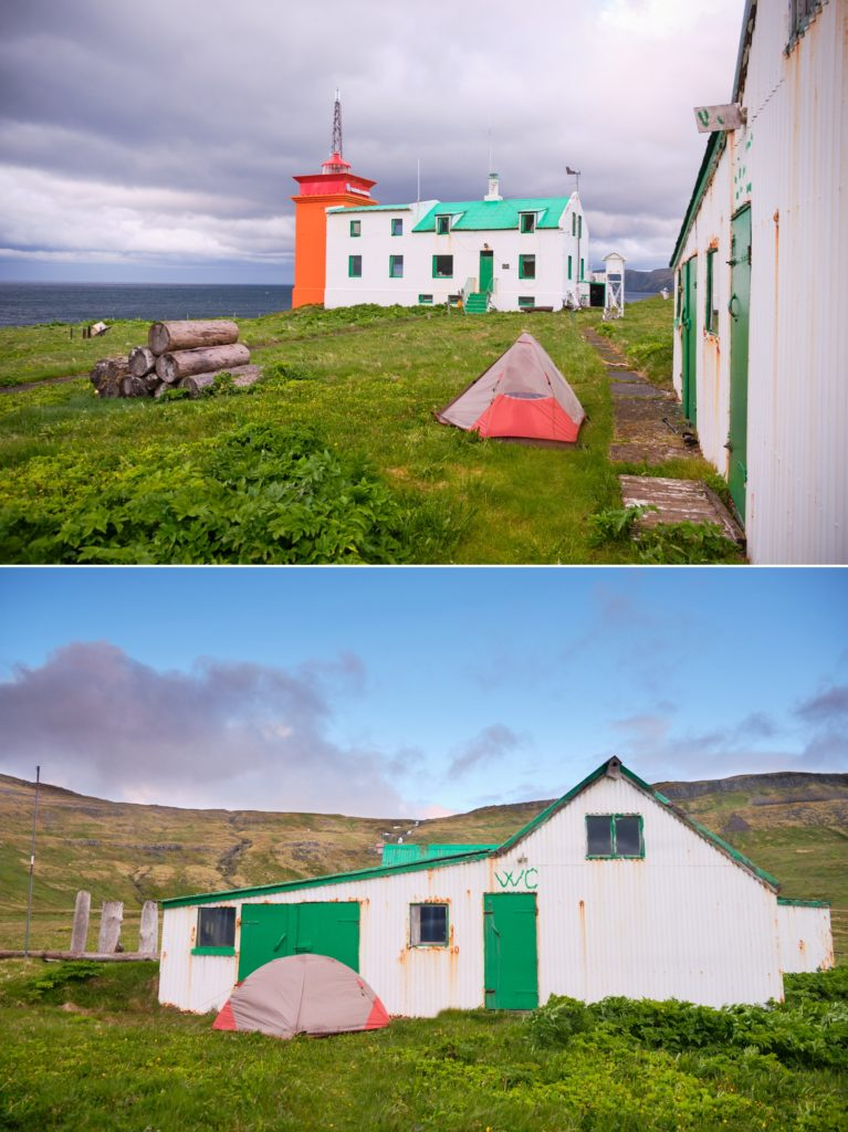 My strategically placed tent at the Hornbjargsviti Lighthouse - Hornstrandir - Iceland