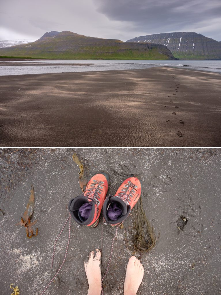 Tidal river crossing at Hornvík and my poor suffering from the cold feet - Hornstrandir - Iceland