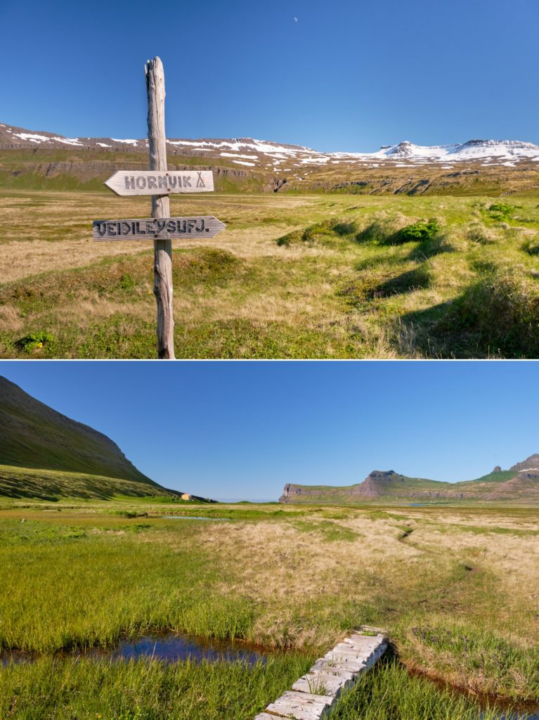 Path and signs on the final stretch to Hornvík - Hornstrandir - Iceland