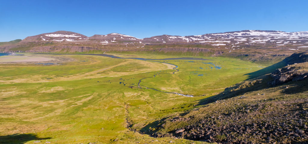 Amazing view of the bright green  river delta at Hornvík - Hornstrandir - Iceland