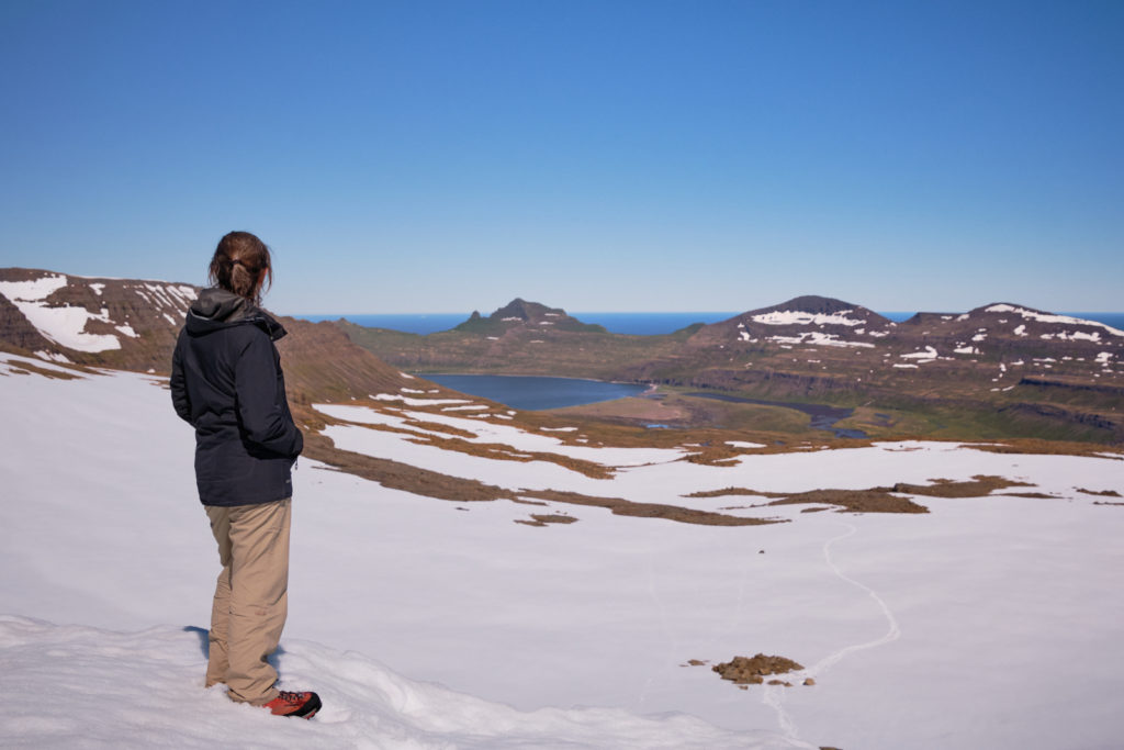 Me looking towards Hornvik from Hafnarsgard Pass - Hornstrandir - Iceland