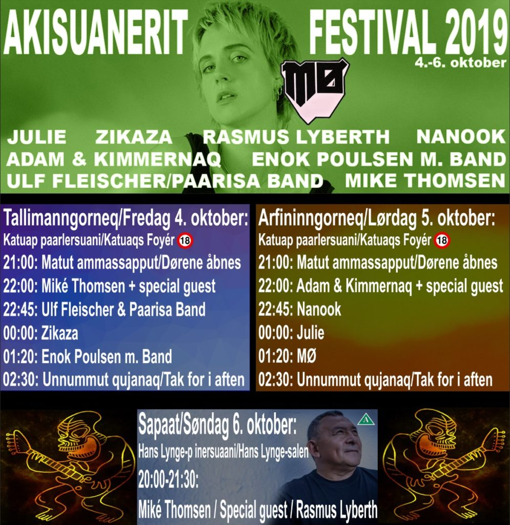 Lineup poster for the Akisuanerit Festival 2019 in Nuuk, Greenland