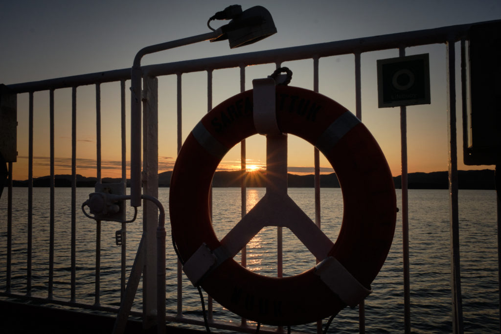 Sunset from the top deck of Sarfaq Ittuk Ferry - West Greenland