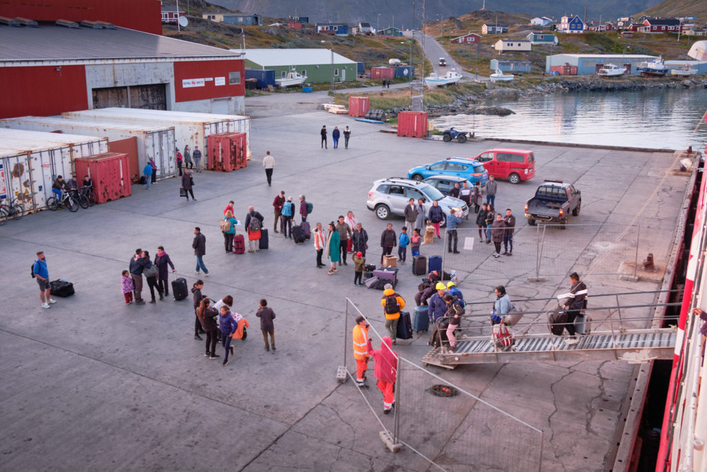Unloading passengers at the dock in Narsaq - Sarfaq Ittuk ferry - West Greenland
