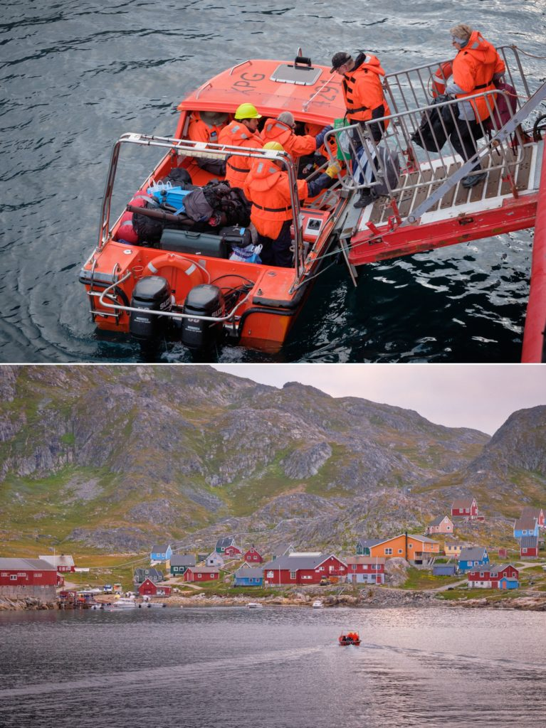The passenger transfer at Arsuk requires the use of zodiacs