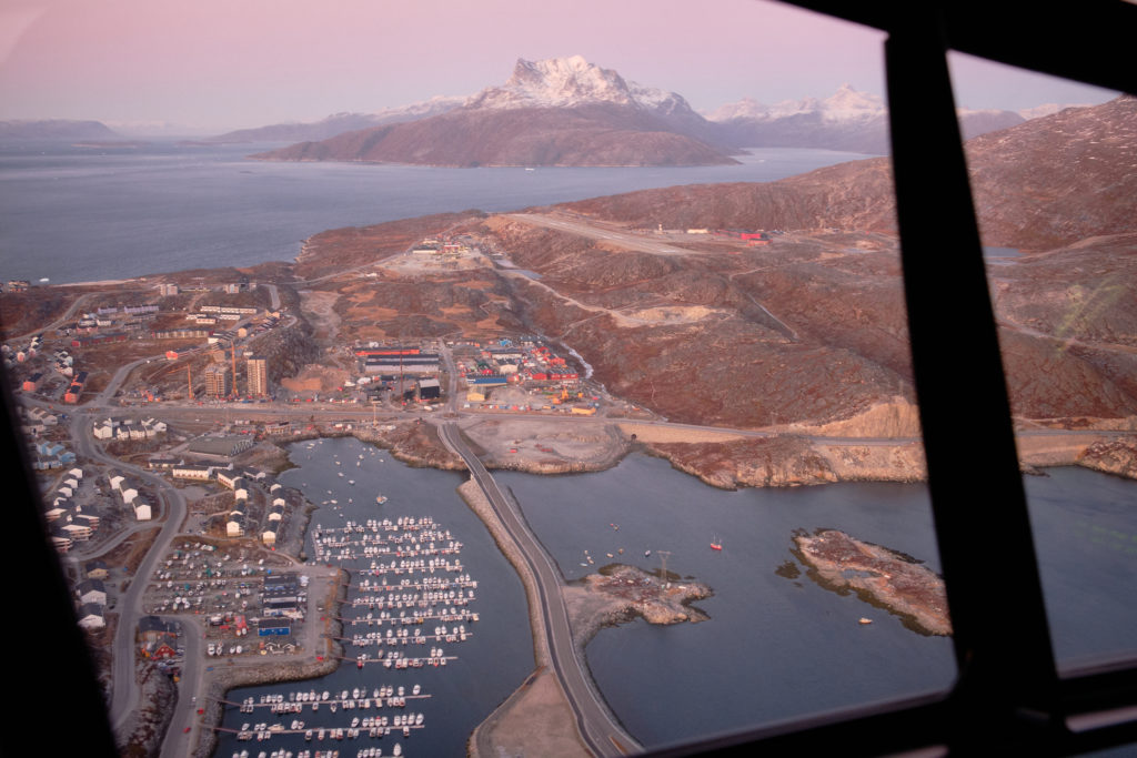 view of private harbour, airport and sermitsiaq from helicopter - Nuuk - West Greenland