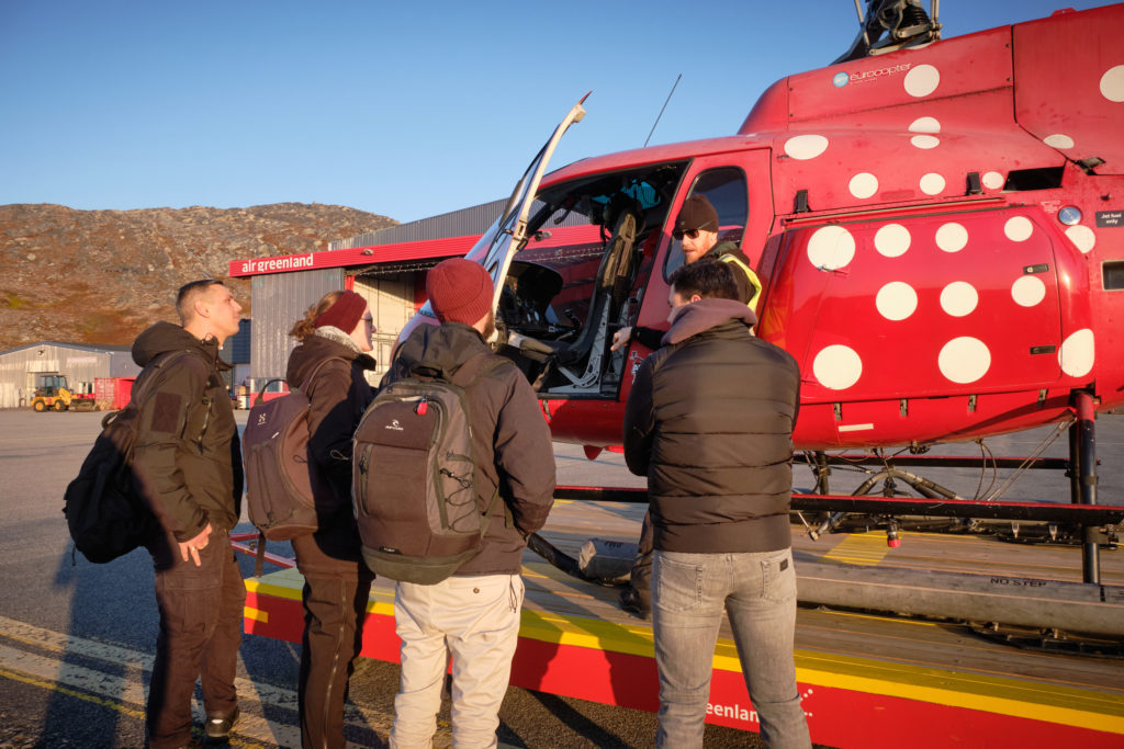 pilot giving safety briefing before we board the helicopter for the Nuuk Summit flight to Sermitsiaq - West Greenland